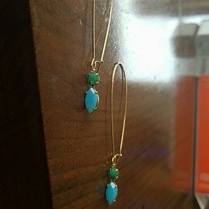 Blue and green vintage inspired earrings